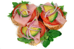 Ham, Tomato And Avo Bites 1 Stock Images