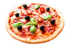 Ham, tomato and cheese  pizza isolated on white background. Hot Royalty Free Stock Photography