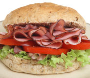 Ham, Tomato & Lettuce Bap or Roll Stock Photography