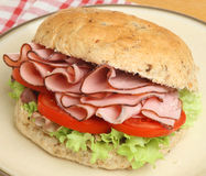Ham & Tomato Roll or Bap Stock Photos