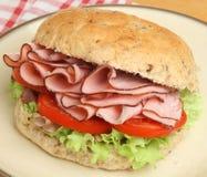 Ham & Tomato Roll or Bap Stock Photos
