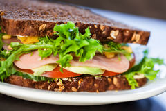 Ham and tomato sandwich. Stock Images