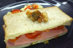 Ham and tomato sandwich with scrambled egg Royalty Free Stock Image