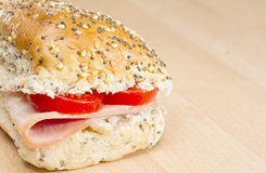 Ham and tomato seeded roll Royalty Free Stock Image
