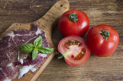 Ham and tomatoes royalty free stock photography