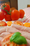 Ham and tomatoes Royalty Free Stock Images