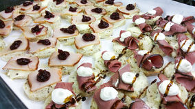 Ham and turkey cocktail breads Stock Photos