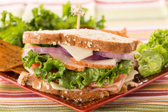 Ham Turkey Lettuce Cheese Healthy Lunch Sandwich Royalty Free Stock Images