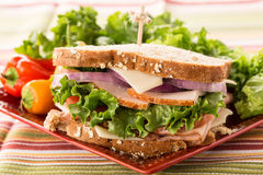 Ham Turkey Lettuce Tomato Cheese Lunch Sandwich Royalty Free Stock Image