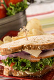 Ham and Turkey Sandwich Healthy Lunch with Chips Stock Images