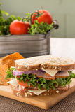 Ham Turkey Sandwich With Lettuce and Tomatoes Royalty Free Stock Images
