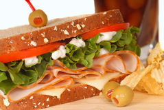 Ham and turkey sandwich on multi grain bread Stock Image