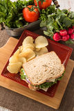 Ham Turkey Sandwich With Potato Chips and Vegetables Stock Photo