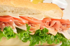 Ham and turkey sub. Fresh made healthy organic and delicious ham and turkey sub Stock Image