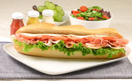 Ham and turkey sub Stock Images