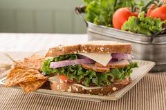 Ham Turkey Swiss Cheese Sandwich met Chips And Vegetables Royalty-vrije Stock Afbeeldingen