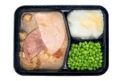 Ham and turkey TV dinner Stock Photos