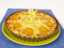 Ham and vegetable pie. In a pie mold stock images