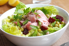 Ham and vegetable salad Royalty Free Stock Photography