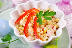 Ham and vegetable salad with mayonnaise for easter Royalty Free Stock Photo