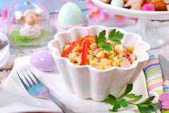 Ham and vegetable salad with mayonnaise for easter Stock Photo