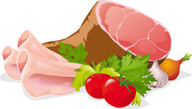 Ham with vegetable - vector illustration isolated Stock Photo