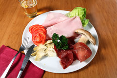 Ham and vegetables Stock Photography