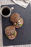 Ham and vegetables sandwiches Stock Photography