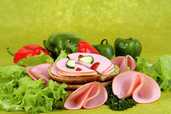 Ham with vegetables. Royalty Free Stock Photo