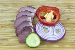 Ham and vegetables Stock Photo