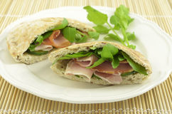 Ham and Watercress pita Royalty Free Stock Images