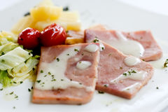 Ham. With white dressing sauce and boiled vegetable Royalty Free Stock Photos