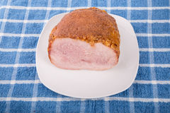 Ham on White Plate with Honey Crust Royalty Free Stock Image