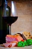 Ham and wine Royalty Free Stock Photos
