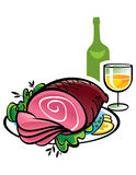 Ham and Wine Royalty Free Stock Photos