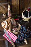 Ham, wine and bread Stock Photos