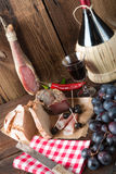 Ham, wine and bread Royalty Free Stock Photos