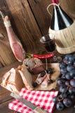 Ham, wine and bread Royalty Free Stock Photos