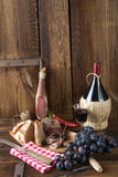 Ham, wine and bread Stock Photo