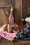 Ham, wine and bread Stock Images