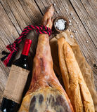 Ham, wine and bread Royalty Free Stock Photo