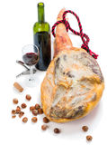 Ham, wine and nuts Stock Photos