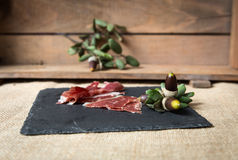 Ham on wooden board Royalty Free Stock Photography
