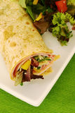Ham wrap and salad Royalty Free Stock Photography