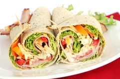 Ham Wrap Sandwich. With salad and mayonnaise Royalty Free Stock Images