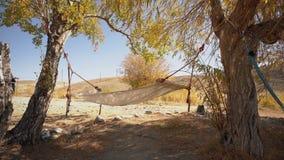 Hamac accrochant entre deux arbres avec le paysage sec d'été avec les collines et l'herbe jaune sur le fond clips vidéos