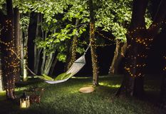 Hamac dans les bois la nuit Photos libres de droits