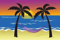 Hamac entre les palmiers sur la plage au coucher du soleil illustration de vecteur