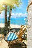 Hamac vide entre les palmiers à la plage sablonneuse photos libres de droits