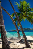 Hamac vide entre les palmiers sur la plage tropicale Photos libres de droits